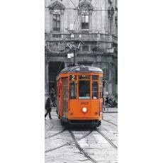 Φωτοταπετσαρία Πόρτας orange tram