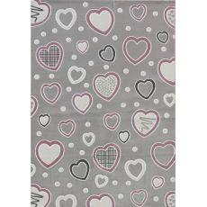 Παιδική ύφαντή μοκέτα Baby Hearts 055 Grey Pink