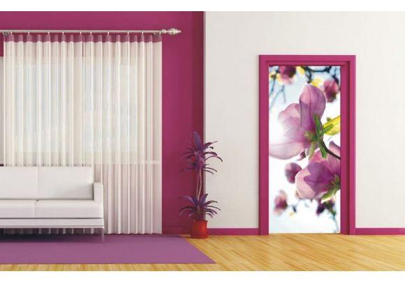 Φωτοταπετσαρία Πόρτας pink flowers